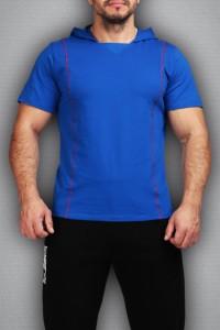 Футболка с капюшоном 3496 синяя